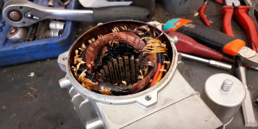 Zhorený stator elektromotora